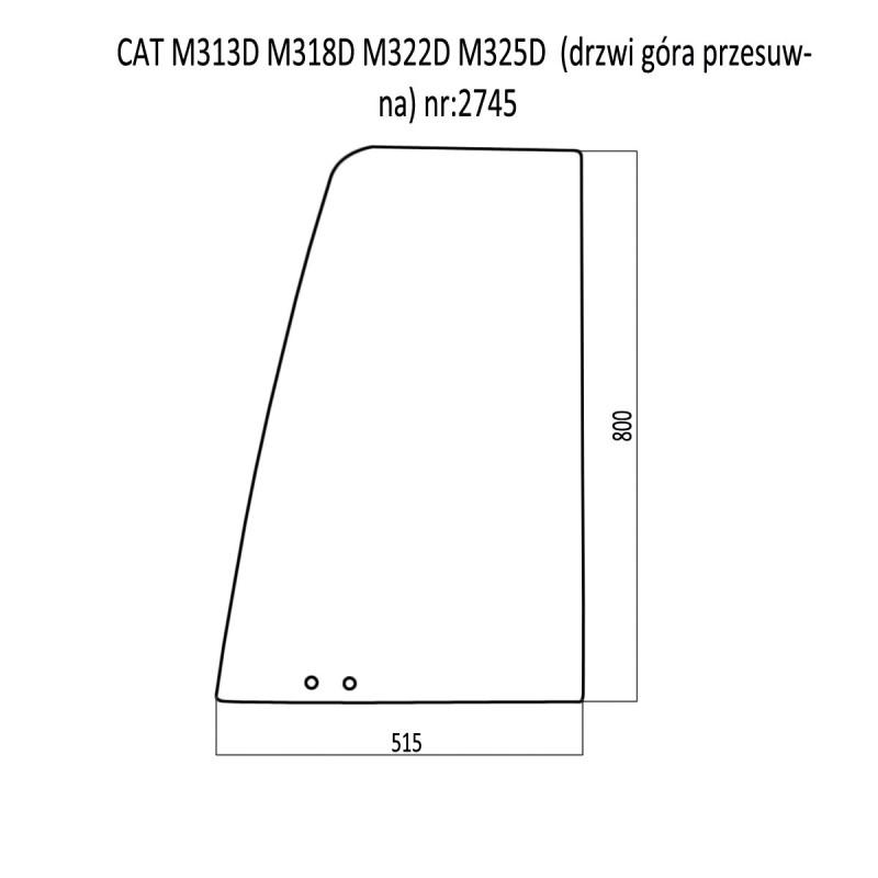 CAT M313D M318D M322D M325D SZYBA DRZWI GÓRNA PRZESUWNA