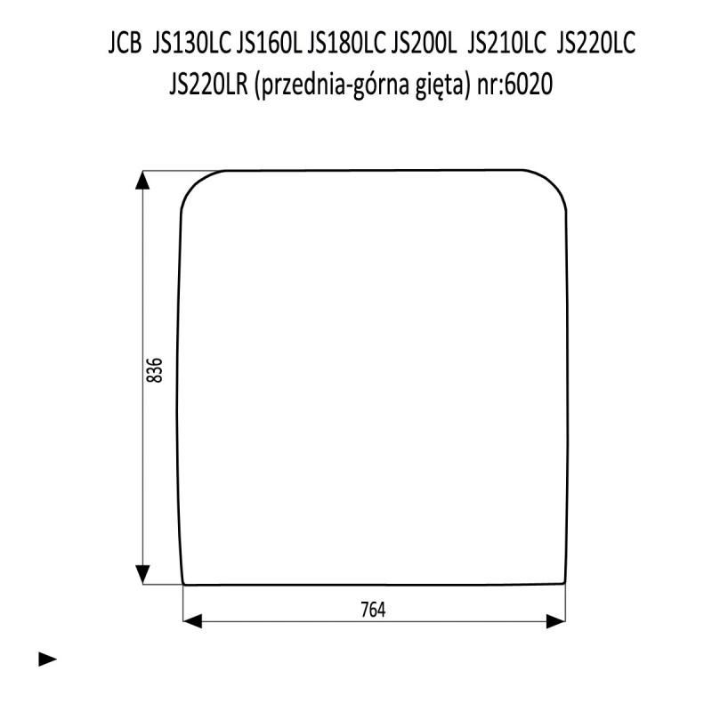 JCB JS130LC  JS180LC  JS210LC  JS220LC  JS220LR  JS220N JS220S szyba przednia górna
