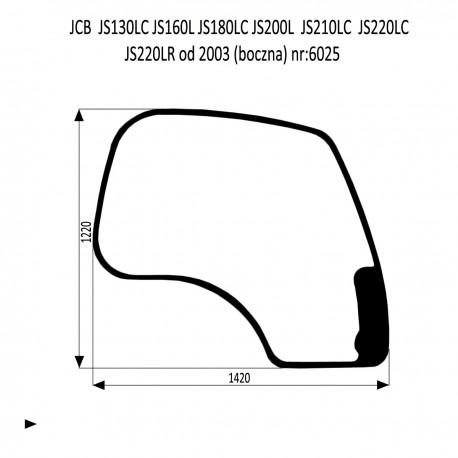 JCB JS130LC  JS180LC  JS210LC  JS220LC  JS220LR  JS220N JS220S szyba przednia boczna