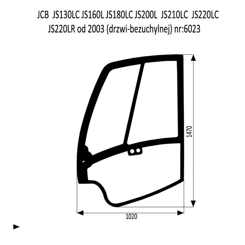 JCB JS130LC  JS180LC  JS210LC  JS220LC  JS220LR  JS220N JS220S szyba w drzwi