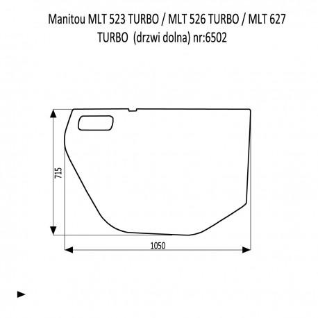 Manitou MLT 523 TURBO  MLT 526 TURBO  MLT 627 TURBO  szyba drzwi dolna