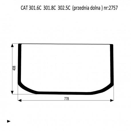 CAT 301.6C 301.8C  302.5C szyba przednia dolna