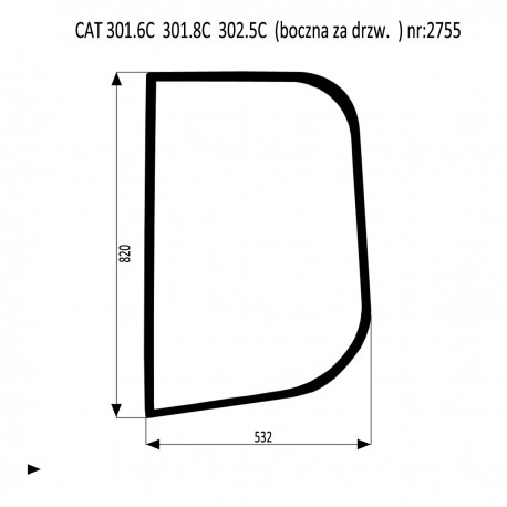CAT 301.6C 301.8C  302.5C szyba za drzwiami