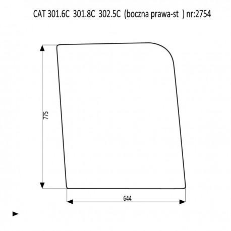 CAT 301.6C 301.8C  302.5C szyba boczna prawa stała