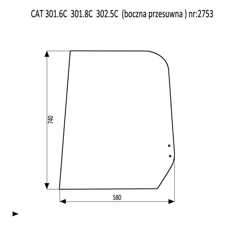 CAT 301.6C 301.8C  302.5C szyba boczna przesuwna