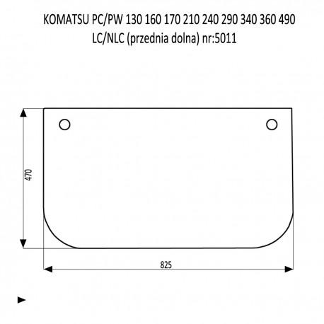 KOMATSU PC PW 130 160 210  240 290 340 LC  NLC szyba przednia dolna