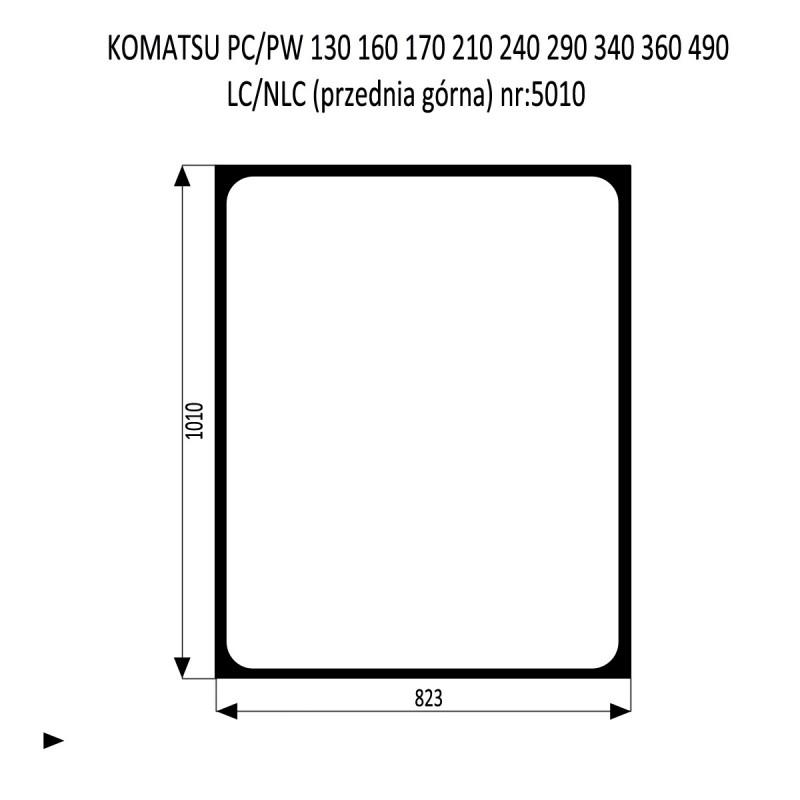 KOMATSU PC PW 130 160 210  240 290 340 LC  NLC szyba przednia górna