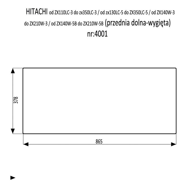 HITACHI 110 120 130 160 180 210 240 250 280 LC-3 LCN-3 szyba przednia dolna