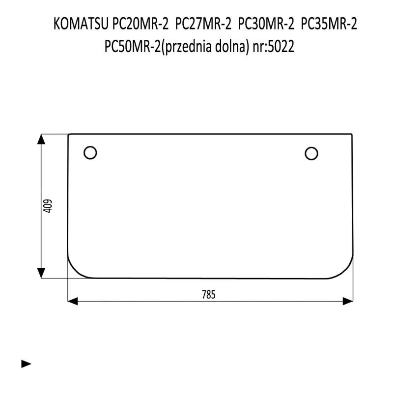KOMATSU PC20MR-2 PC27MR-2  PC30MR-2  PC35MR-2  PC50MR-2 szyba przednia dolna