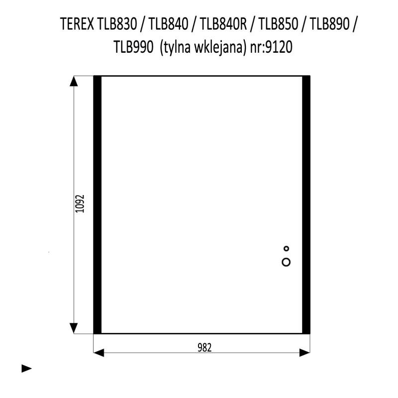 TEREX TLB830  TLB840  TLB840R  TLB850  TLB890  TLB990 szyba tylna wklejana