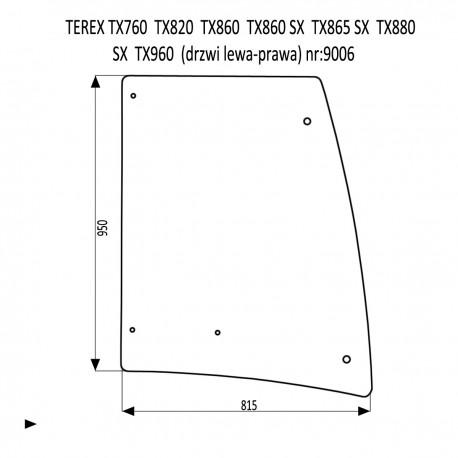 TEREX TX760 TX820 TX860SX TX865SX TX880SX TX960 SZYBA W DRZWI LEWA PRAWA