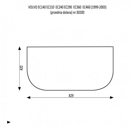 VOLVO EC / EW 140 210 240 290 360 460 LC Szyba przednia górna
