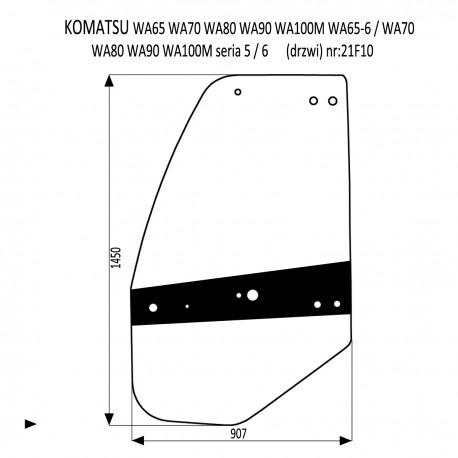 KOMATSU WA 65-5 70-50 80-5 90-5 100-5 65-6 70-6 80-6 90-6 100-6 szyba drzwi lewe