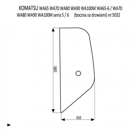 KOMATSU WA 65-5 70-50 80-5 90-5 100-5 65-6 70-6 80-6 90-6 100-6 szyba boczna za drzwiami