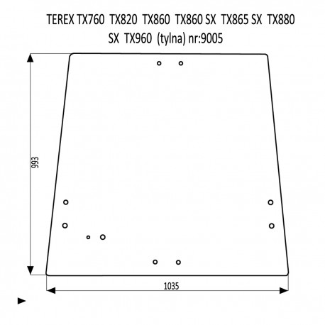 TEREX TX760 TX820 TX860SX TX865SX TX880SX TX960 SZYBA TYLNA