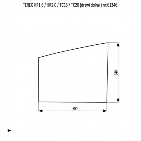 TEREX HR 1.6 2.0 TC 16 TC 20 szyba dolna drzwi