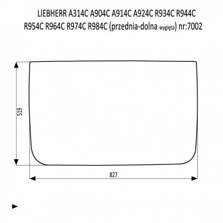 LIEBHERR  A314C  A904C  A914C A924C  R934C R944C  R954C R964C  R974C  R984C szyba przednia dolna