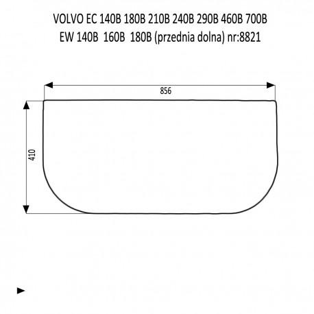 VOLVO EC140B  EC180B  EC210B  EC240B EC290B EC360B  EC460B EC700B EW140B  EW160B  EW180B  szyba przednia dolna