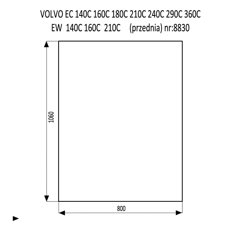 VOLVO EC160C EC210C EC240C EC290C EC360C EC480C EC700C EW140C EW160C EW180C EW210C EW230C szyba przednia