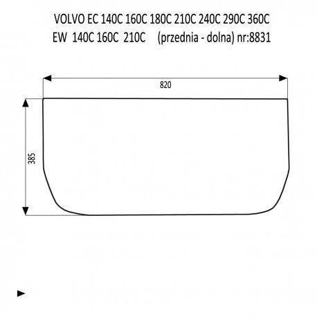 VOLVO EC160C EC210C EC240C EC290C EC360C EC480C EC700C EW140C EW160C EW180C EW210C EW230C szyba przednia dolna