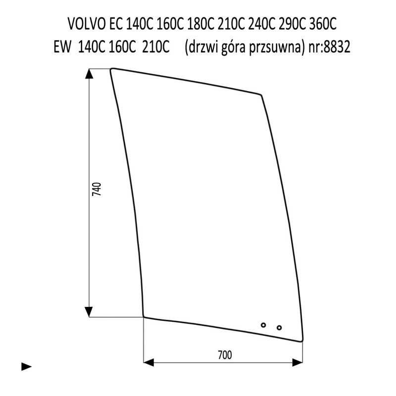 VOLVO EC160C EC210C EC240C EC290C EC360C EC480C EC700C EW140C EW160C EW180C EW210C EW230C drzwi górna