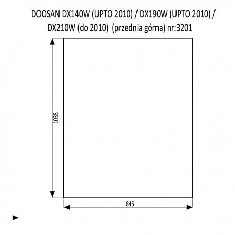 DOOSAN DX140LC DX180LC DX210LC DX225LCA DX300LC DX300LCA DX300SLR DX340LC DX350LC DX420LC DX480LC DX520LC szyba przednia górna