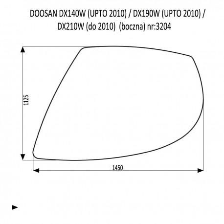 DOOSAN DX140LC DX180LC DX210LC DX225LCA DX300LC DX300LCA DX300SLR DX340LC DX350LC DX420LC DX480LC DX520LC szyba boczna
