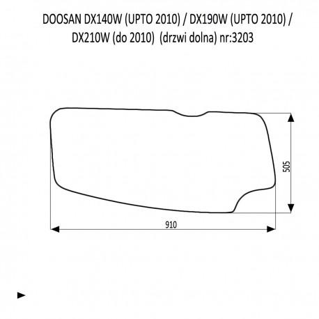 DOOSAN DX140LC DX180LC DX210LC DX225LCA DX300LC DX300LCA DX300SLR DX340LC DX350LC DX420LC DX480LC DX520LC szyba drzwi dolna