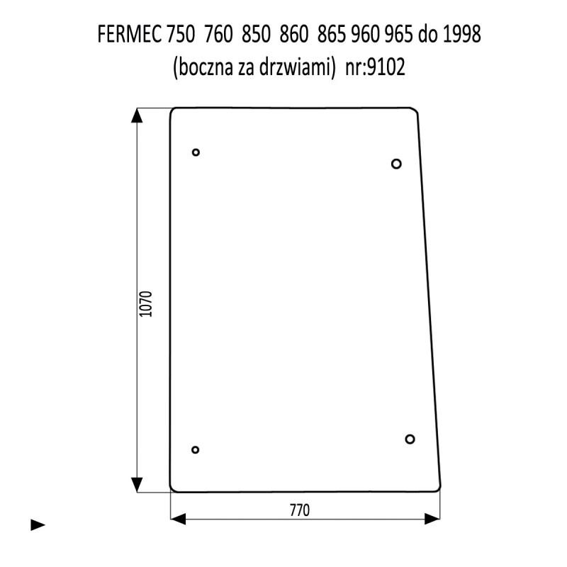 FERMEC 750  760  850  860  865  960  965 szyba boczna za drzwiami
