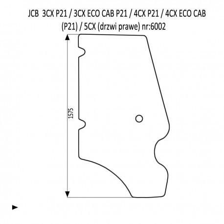 JCB 3CX 4CX P21 szyba drzwi prawe