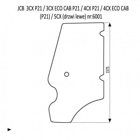 JCB 3CX 4CX P21 szyba drzwi lewe