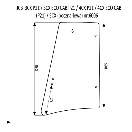 JCB 3CX 4CX P21 szyba boczna lewa