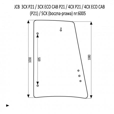 JCB 3CX 4CX P21 szyba boczna prawa