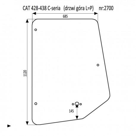 CAT 428C - 438C szyba drzwi lewa prawa