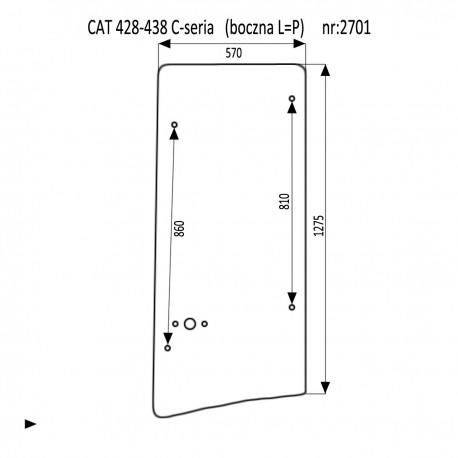 CAT 428C - 438C szyba boczna lewa prawa