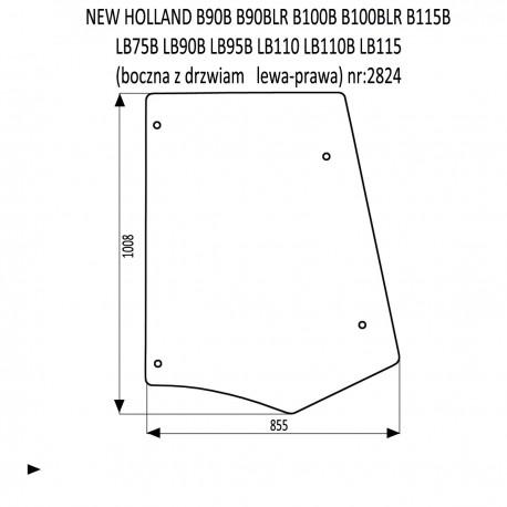NEW HOLLAND B90B B90BLR B100B B100BLR B115B LB75B LB90B LB95B LB110 LB110B LB115 szyba boczna
