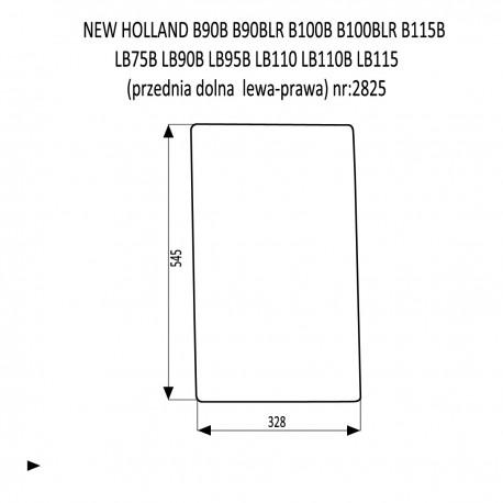 NEW HOLLAND B90B B90BLR B100B B100BLR B115B LB75B LB90B LB95B LB110 LB110B LB115 szyba przednia dolna