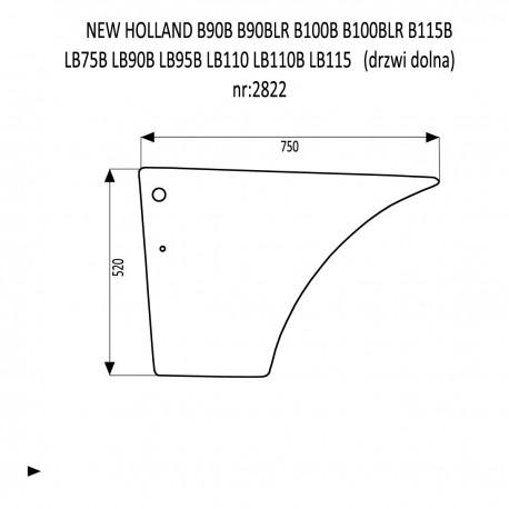 NEW HOLLAND B90B B90BLR B100B B100BLR B115B LB75B LB90B LB95B LB110 LB110B LB115  szyba drzwi dolna