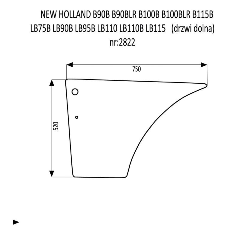 NEW HOLLAND B90B B90BLR B100B B100BLR B115B LB75B LB90B LB95B LB110 LB110B LB115 drzwi dolna