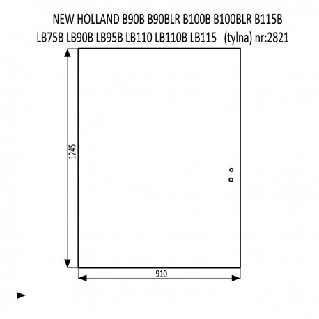 NEW HOLLAND B90B B90BLR B100B B100BLR B115B LB75B LB90B LB95B LB110 LB110B LB115  szyba tylna