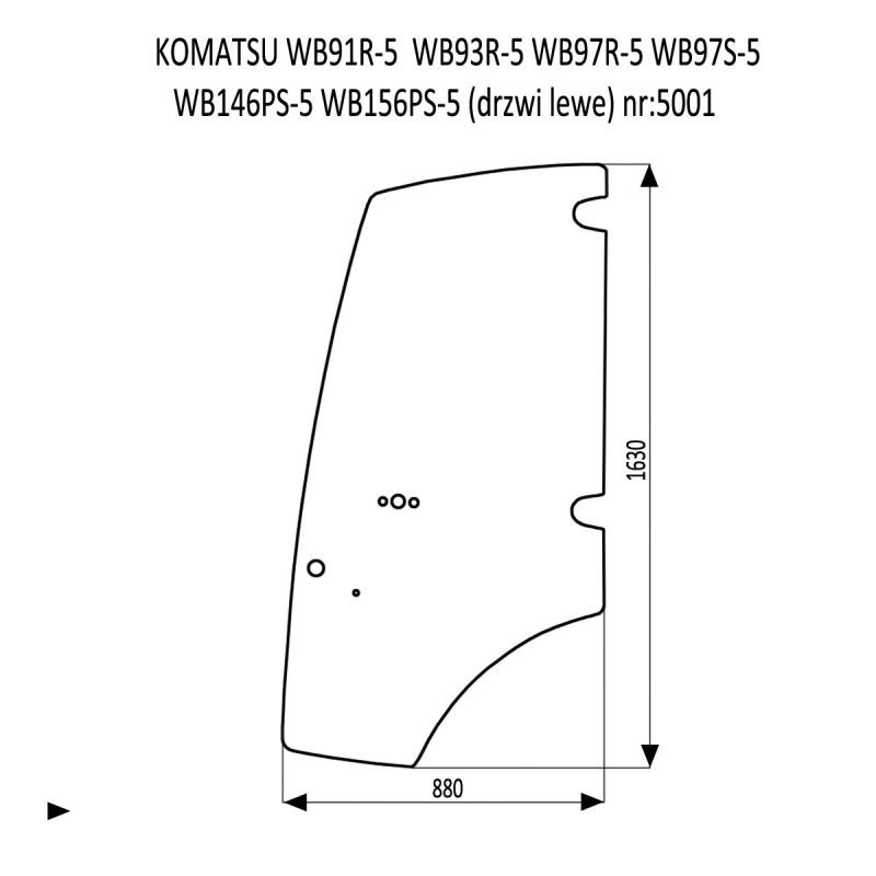 KOMATSU WB91R-5  WB93R-5  WB97R-5  WB97S-5  WB146PS-5  WB156PS-5 drzwi lewe