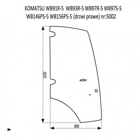 KOMATSU WB91R-5  WB93R-5  WB97R-5  WB97S-5  WB146PS-5  WB156PS-5 szyba drzwi prawe
