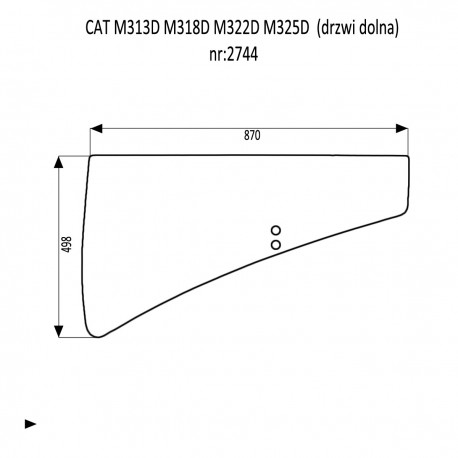 CAT M313D M318D M322D M325D SZYBA DRZWI DOLNA
