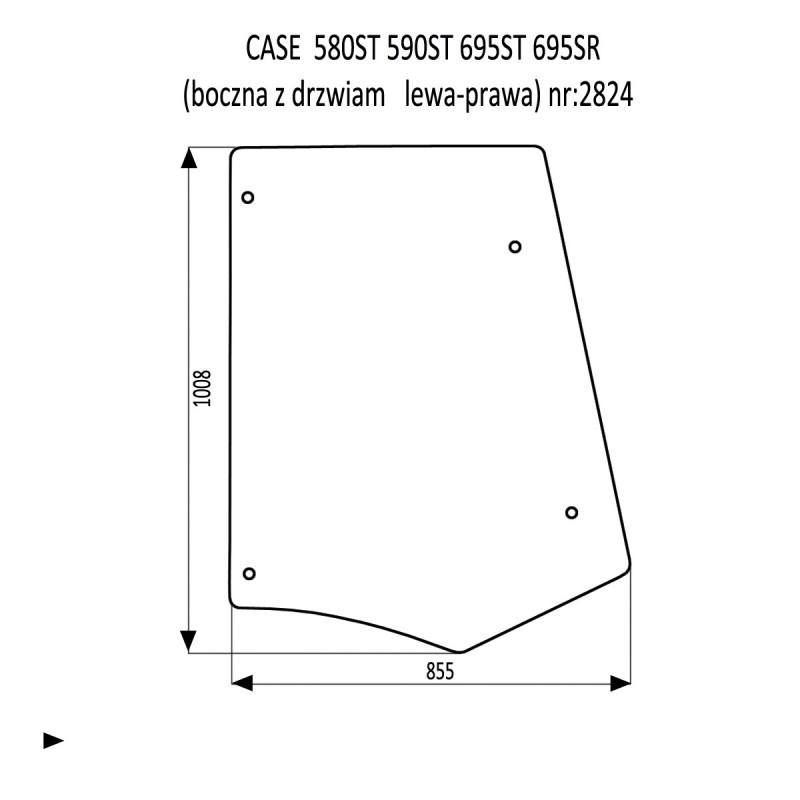 CASE 580ST 590ST 695ST 695SR szyba boczna