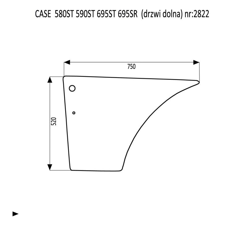 CASE 580ST 590ST 695ST 695SR szyba drzwi dolna