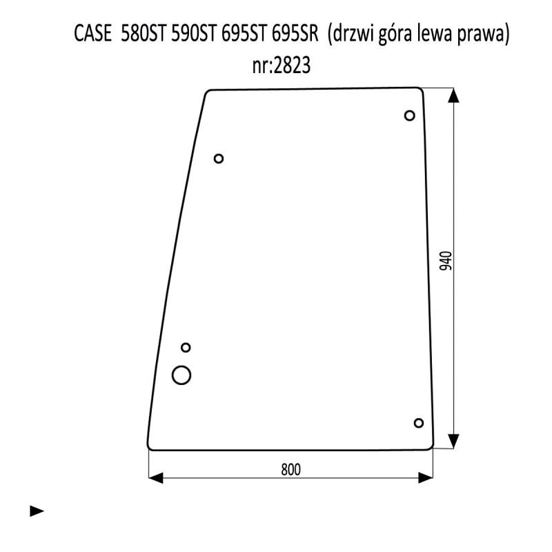 CASE 580ST 590ST 695ST 695SR szyba drzwi góra