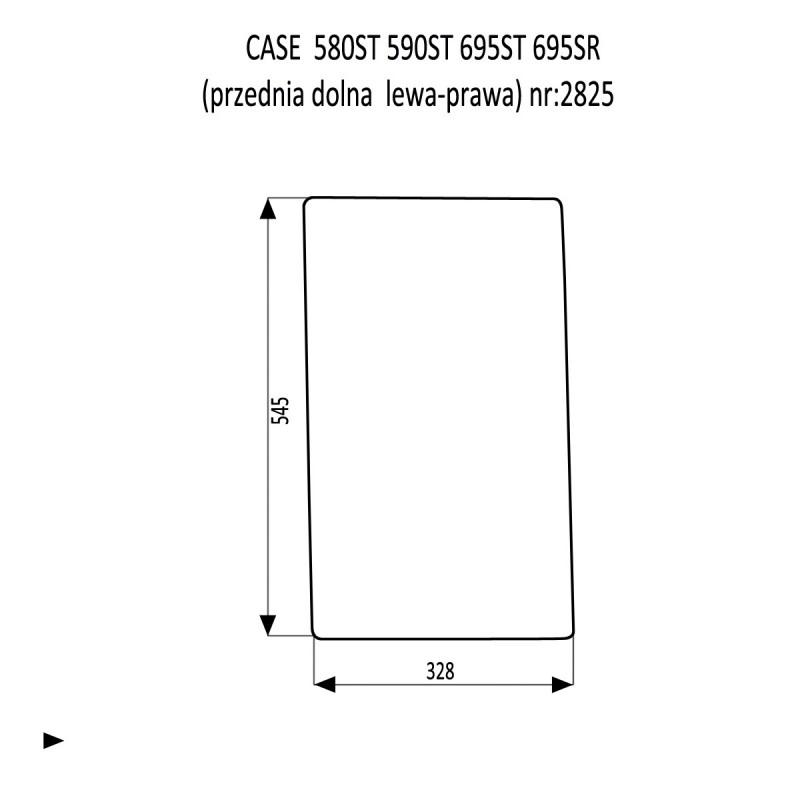 CASE 580ST 590ST 695ST 695SR szyba przednia dolna